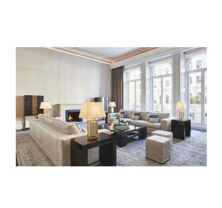 "Contemporary Armani Casa Ebonized Cerused Oak ""Paris"" Side Table, Minimal Modern Italian For Sale"