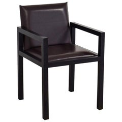 Armani Casa Modern 'Dallas' Armchair, Brown Black Leather and Oak Lounge Chair