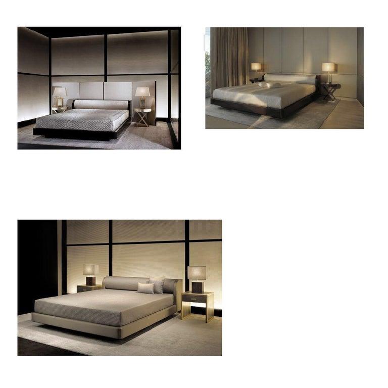 Italian Armani Casa Modern Minimal Low-Profile Bed, Brown-Black Oak, Round Bolster Head