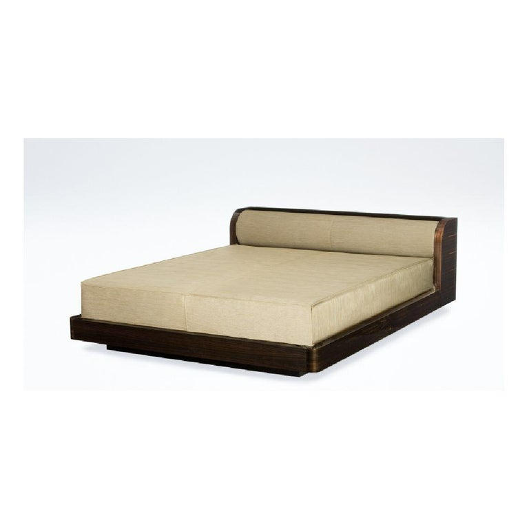 Armani Casa Modern Minimal Low-Profile Bed, Brown-Black Oak, Round Bolster Head In Good Condition In Brooklyn, NY