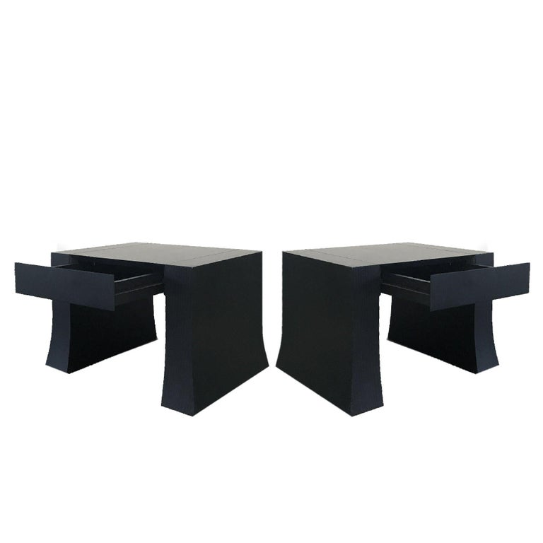 Italian Armani Casa Wood Side Table with Drawer, Signed For Sale