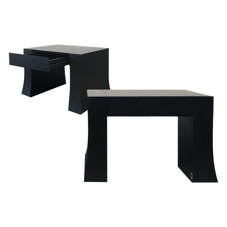 Armani Casa Wood Side Table with Drawer, Signed For Sale