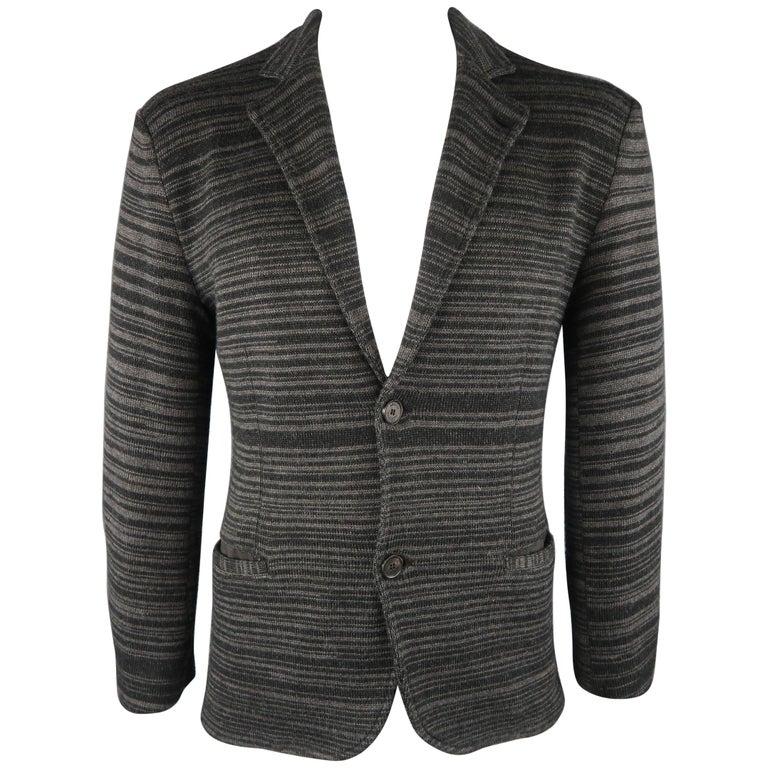 5fd961ea495 ARMANI COLLEZIONI 40 Grey and Black Stripe Wool Blend Sport Coat For ...