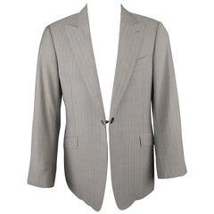 ARMANI COLLEZIONI 41 Light Gray Stripe Wool Peak Lapel Single Button Sport Coat