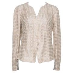 Armani Collezioni Beige Lace Overlay Detail Jacket L