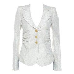 Armani Collezioni Beige Patterned Jacquard Ruched Waist Detail Blazer M