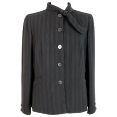 Armani Collezioni Black Bow Classic Pinstripe Evening Jacket