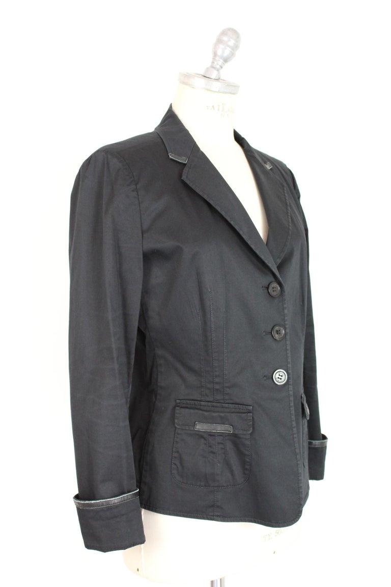 Women's Armani Collezioni Black Cotton Flared Jacket For Sale