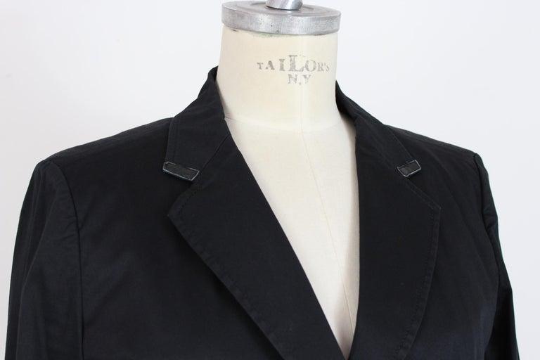 Armani Collezioni Black Cotton Flared Jacket For Sale 1