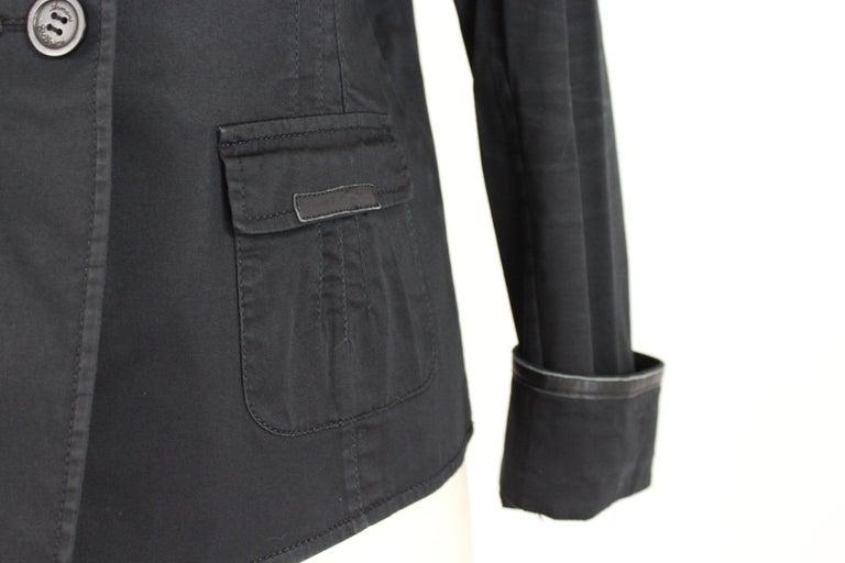 Armani Collezioni Black Cotton Flared Jacket For Sale 2