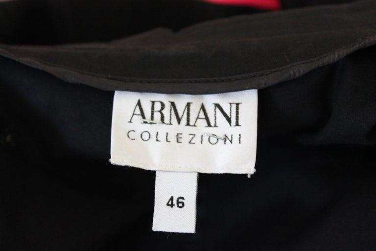 Armani Collezioni Black Cotton Flared Jacket For Sale 3