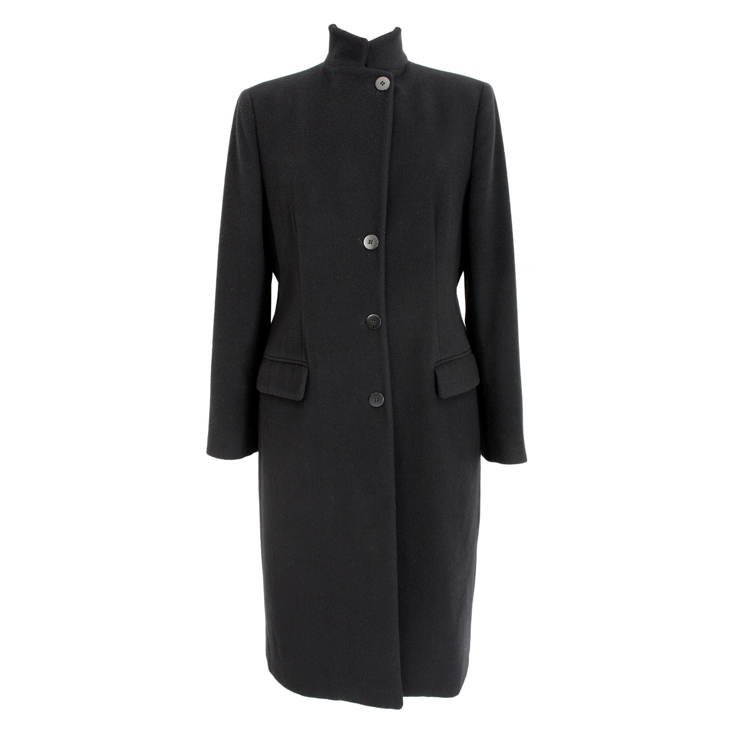 Armani Collezioni Black Soft Wool Classic Long High Collar Elegant Coat
