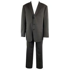 ARMANI COLLEZIONI Black Solid Wool 40 x 34 Suit