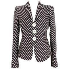 Armani Collezioni Gray White Linen Pinstripe Jacket