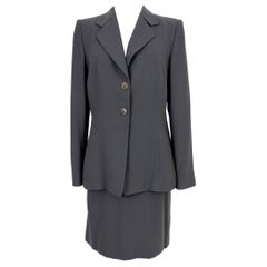 Armani Collezioni Gray Wool Classic Suit Skirt and Jacket 1990s