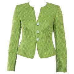 Armani Collezioni Green Cotton & Silk Button Front Blazer S