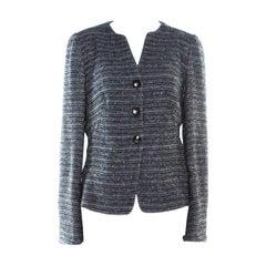 Armani Collezioni Metallic Blue Striped Fuzzy Blazer L