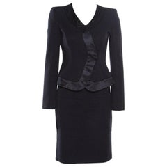 Armani Collezioni Navy Blue Textured Satin Trim Detail Tailored Skirt Suit S