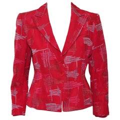 Armani Collezioni Red Cropped Grosgrain Embroidered Multi Color Lines Design