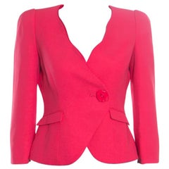 Armani Collezioni Red Silk Georgette Tailored Blazer S