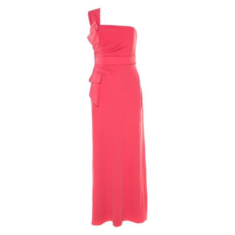 Armani Collezioni Salamander Pink Crepe Trim One Shoulder Evening  Gown M