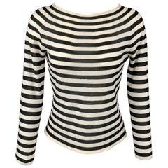 ARMANI COLLEZIONI Size 2 Black & White Stripe Boat Neck Pullover