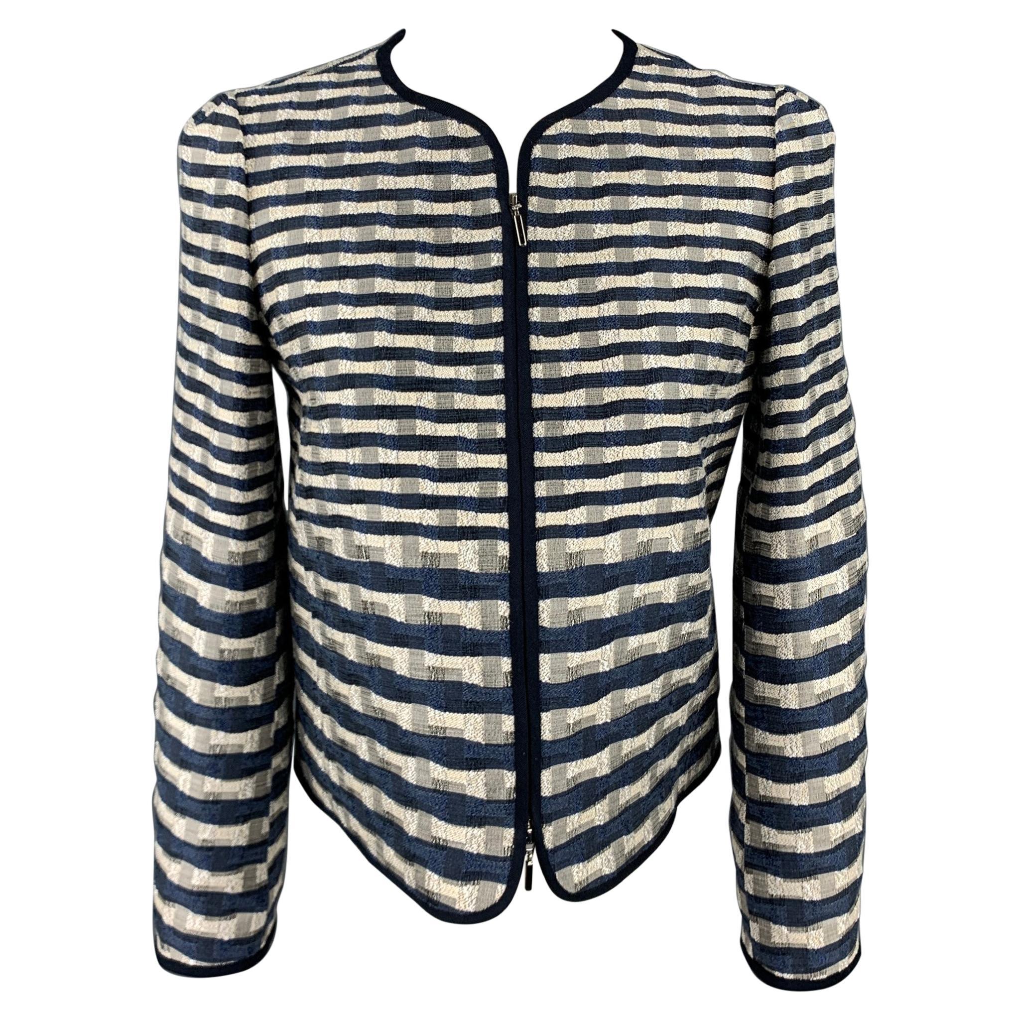 ARMANI COLLEZIONI Size 2 Navy & White Jacquard Jacket