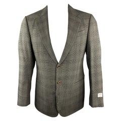 ARMANI COLLEZIONI Size 38 Olive Glenplaid Wool Notch Lapel Sport Coat Jacket