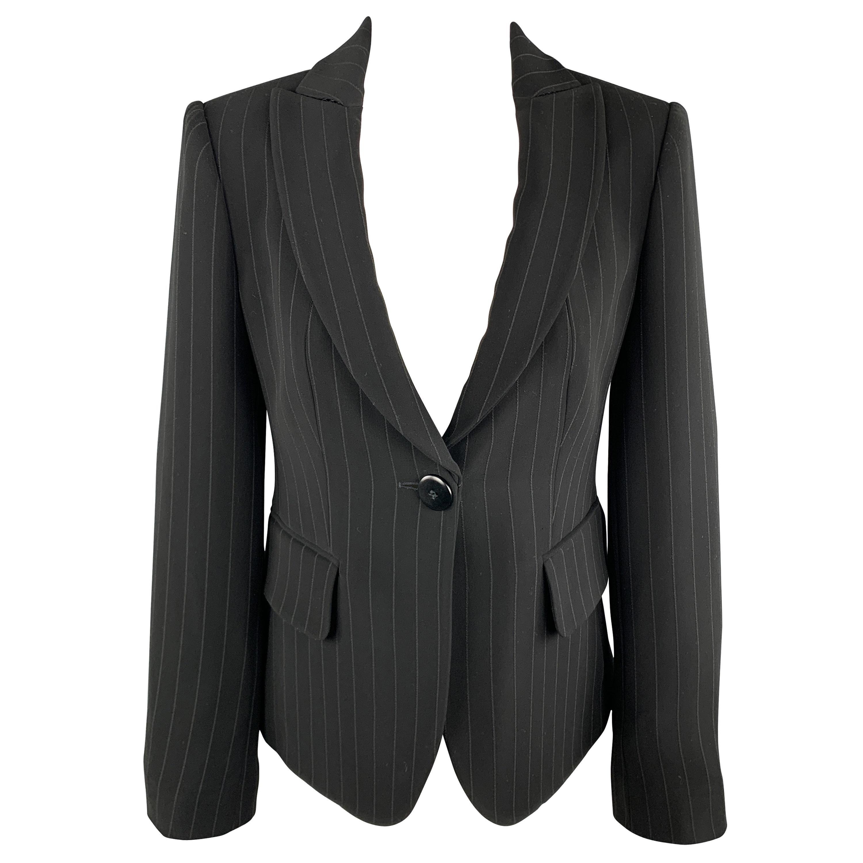 ARMANI COLLEZIONI Size 4 Black Pinstriped Cropped Blazer Jacket