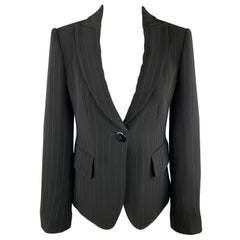 ARMANI COLLEZIONI Size 4 Black Pinstriped Cropped Blazer Jacket