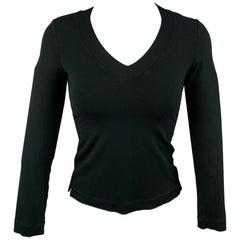 ARMANI COLLEZIONI Size 4 Black Polyamide V-Neck Pullover
