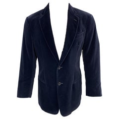 ARMANI COLLEZIONI Size 40 Navy Velvet Notch Lapel Sport Coat