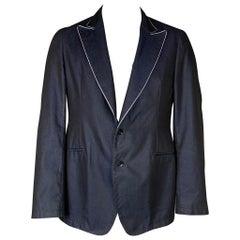 ARMANI COLLEZIONI Size 42 Navy & White Linen / Polyester Peak Lapel Sport Coat