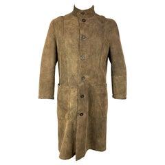 ARMANI COLLEZIONI Size 42 Olive Distressed Shearling Buttoned Coat