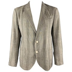 ARMANI COLLEZIONI Size 44 Taupe Muted Glenplaid Linen Notch Lapel Sport Coat