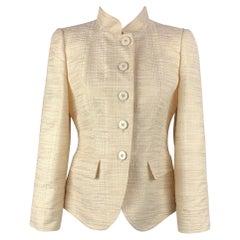 ARMANI COLLEZIONI Size 6 Cream Seersucker Silk / Viscose Buttoned Jacket