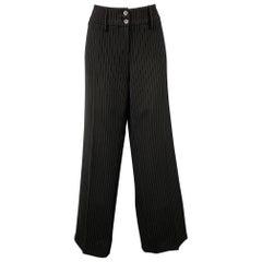 ARMANI COLLEZIONI Size 8 Black Pinstripe Polyester Blend Wide Leg Dress Pants