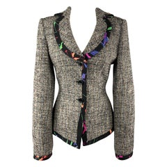 ARMANI COLLEZIONI Size 8 Grey Multi Color Tweed Floral Trim Blazer