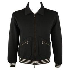ARMANI COLLEZIONI Size L Black Solid Wool Blend Zip Up Jacket