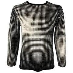ARMANI COLLEZIONI Size L Black & White Geometric Silk / Viscose Pullover