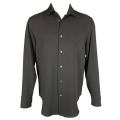 ARMANI COLLEZIONI Size M Black Polyester Blend Button Up Long Sleeve Shirt
