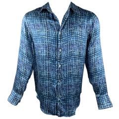 ARMANI COLLEZIONI Size M Blue & Navy Print Silk Button Up Long Sleeve Shirt