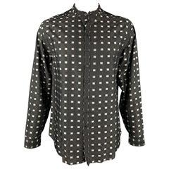ARMANI COLLEZIONI Size XL Black & Silver Checkered Cotton / Viscose Shirt