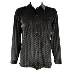 ARMANI COLLEZIONI Size XL Black Swirls Velvet Button Up Long Sleeve Shirt