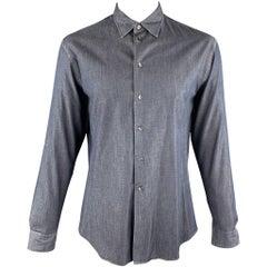 ARMANI COLLEZIONI Size XL Navy Cotton Button Up Long Sleeve Shirt