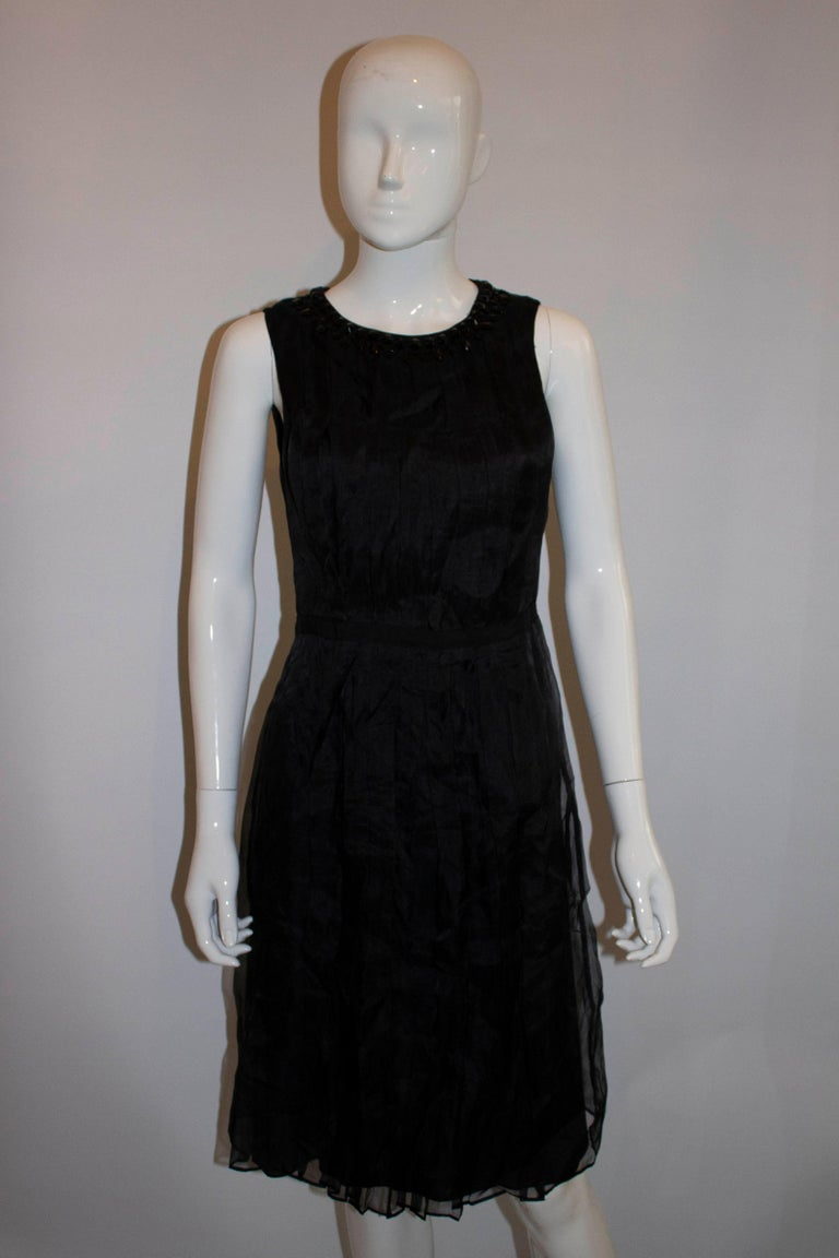 Armani Collezzioni Black Cocktail Dress with Pleat Detail In Good Condition For Sale In London, GB