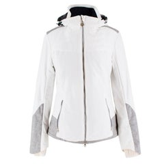 Armani EA7 Grey Tweed Panel White Ski Jacket