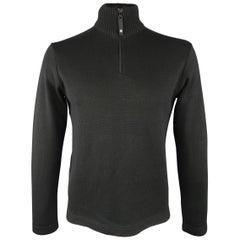 ARMANI JEANS Size XL Black Wool Half Zip Mock Neck Pullover Sweater