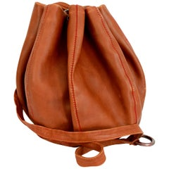 Armani Leather Brown Basketball Bucket Shoulder Bag