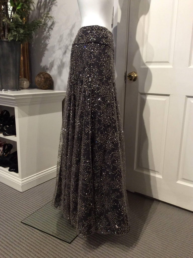 Black Armani Long Grey Tulle Skirt With Crystal Embroidery Sz38 (Us 2) For Sale